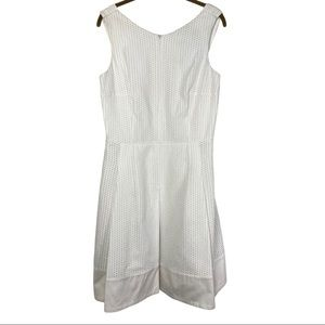 Akris Punto White Zip Front Eyelet Dress Size:10